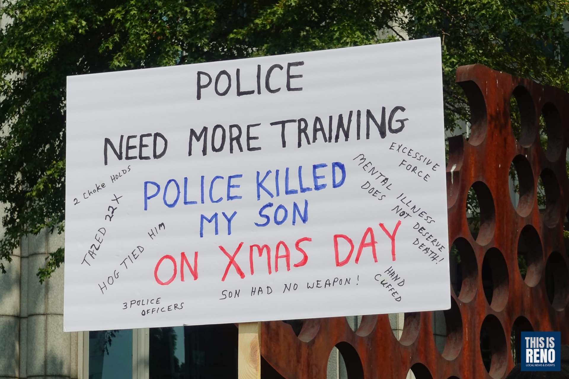 A sign carried by a protester at a demonstration to bring awareness to police use of force and killings on Sept. 12, 2020 in Reno, Nev.