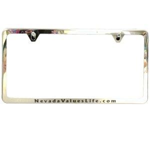thin metallic-like license plate frame