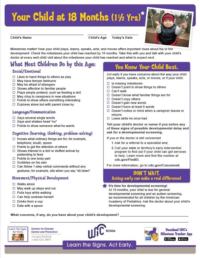 18 Month Checklist (1 1/2yrs) (English)_v2 | Nevada WIC