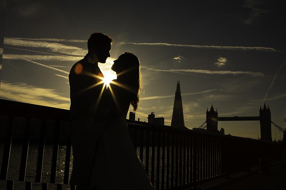 Bride groom wedding London silhouette tower bridge photographer shard sunset