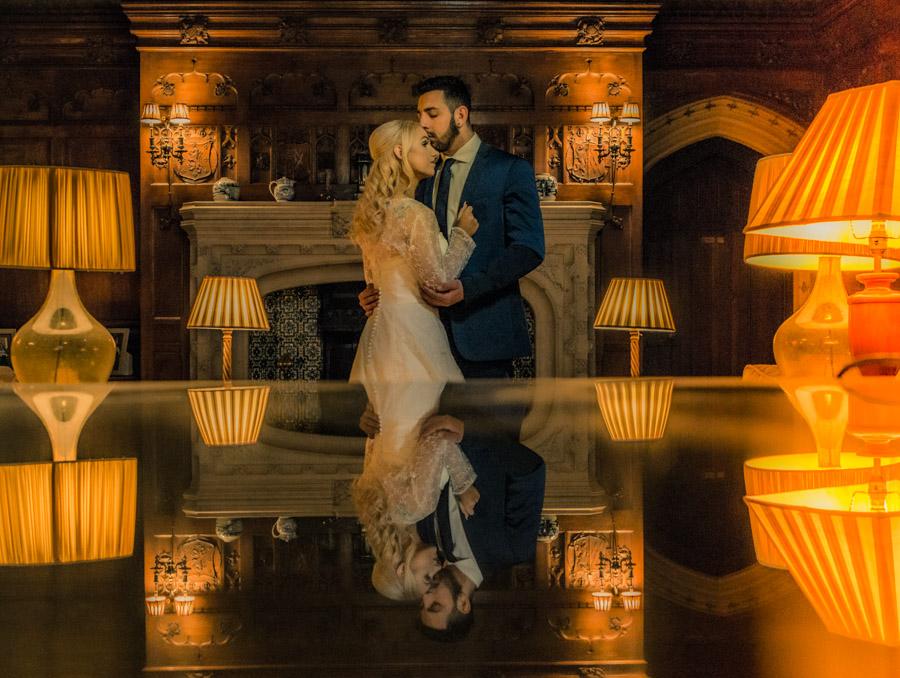 Yorkshire-Bride-Groom-wedding-photographer-intimate-photograph-couple-stunning-embracing-reflection-subtle-lighting