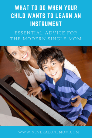 Advice for when your child is wanting to learn to play an instrument. | neveralonemom.com