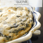 spinach and feta quiche in baking dish