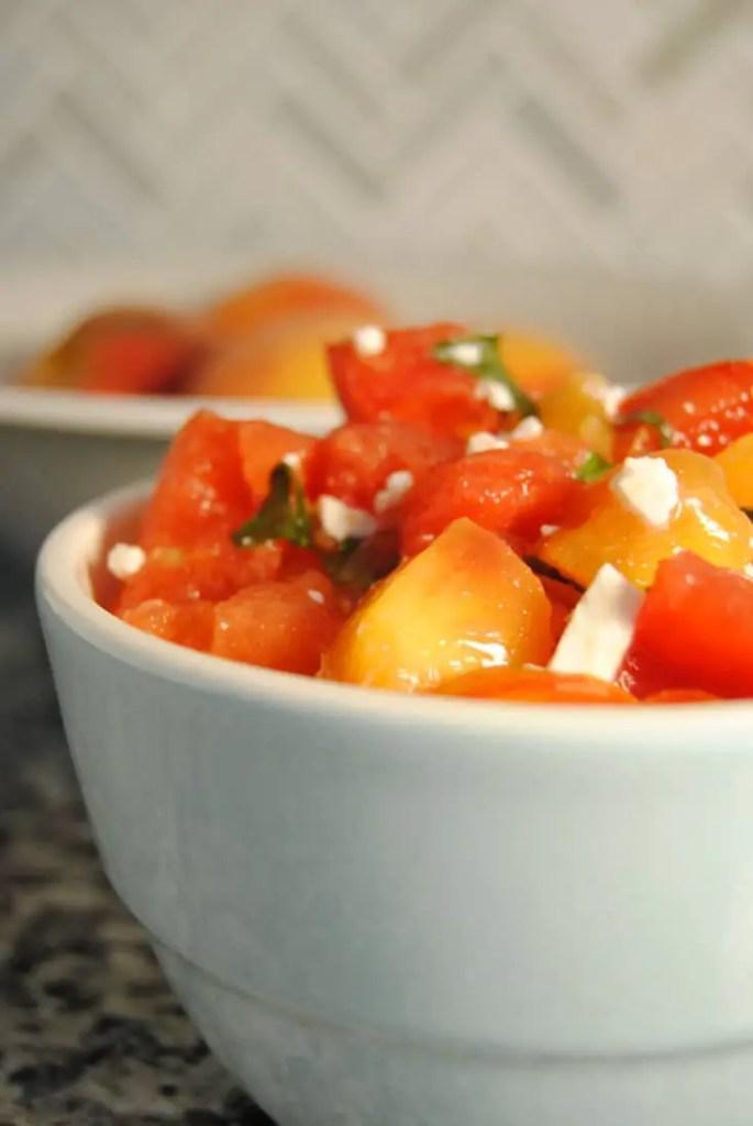 Summer Fruit Salad - watermelon, peach, tomatoes, fresh basil, feta - a refreshing salad for summer | neveranythyme.com
