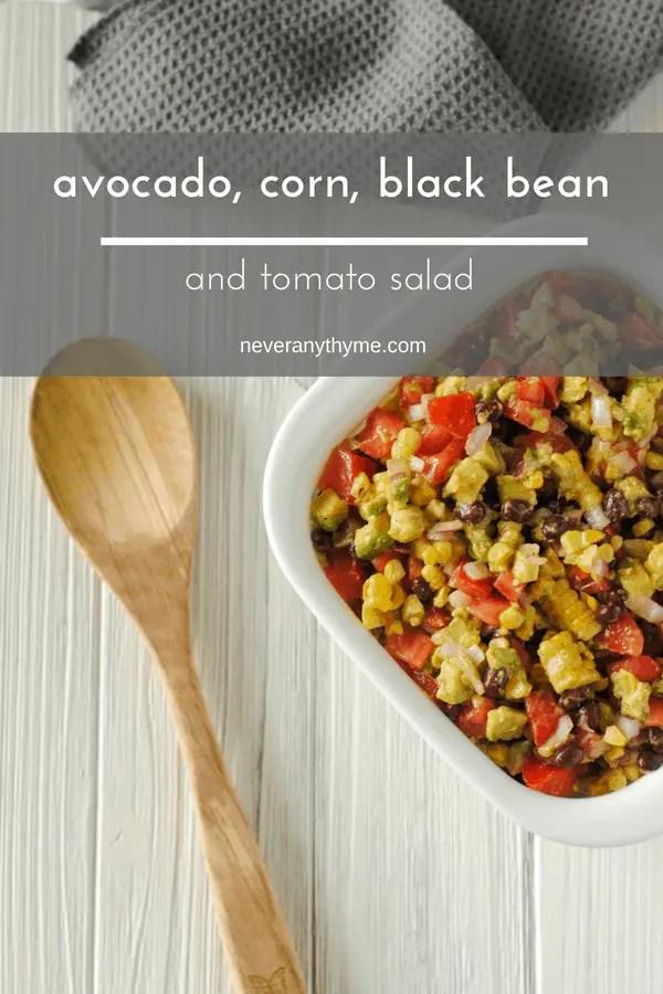 avocado, corn and black bean salad with tomatoes recipe