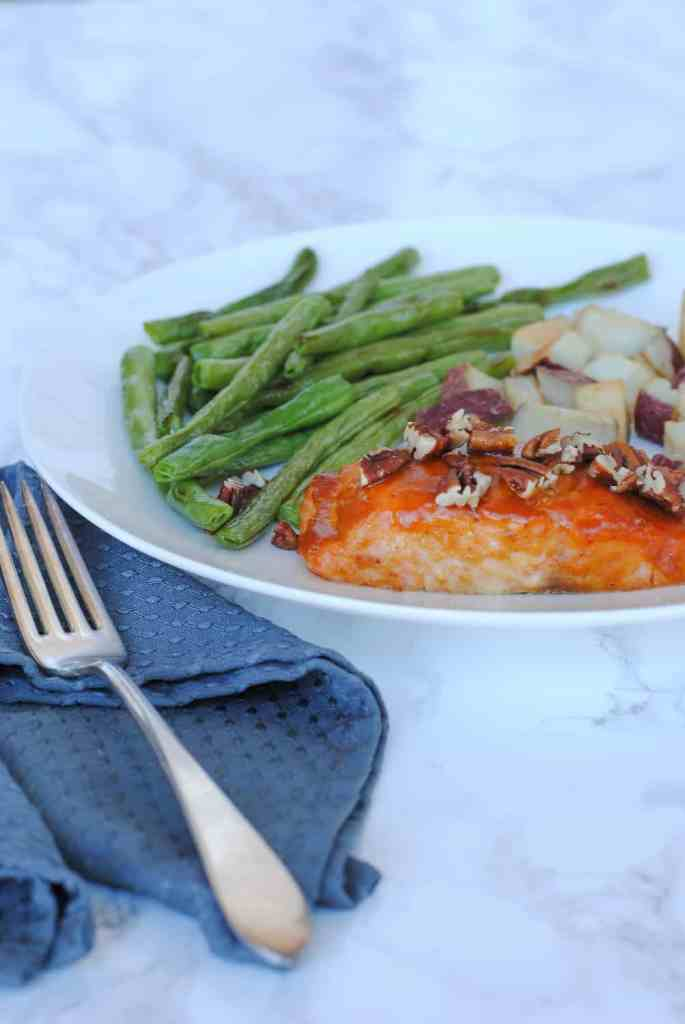 salmon, green beans, and potatoes