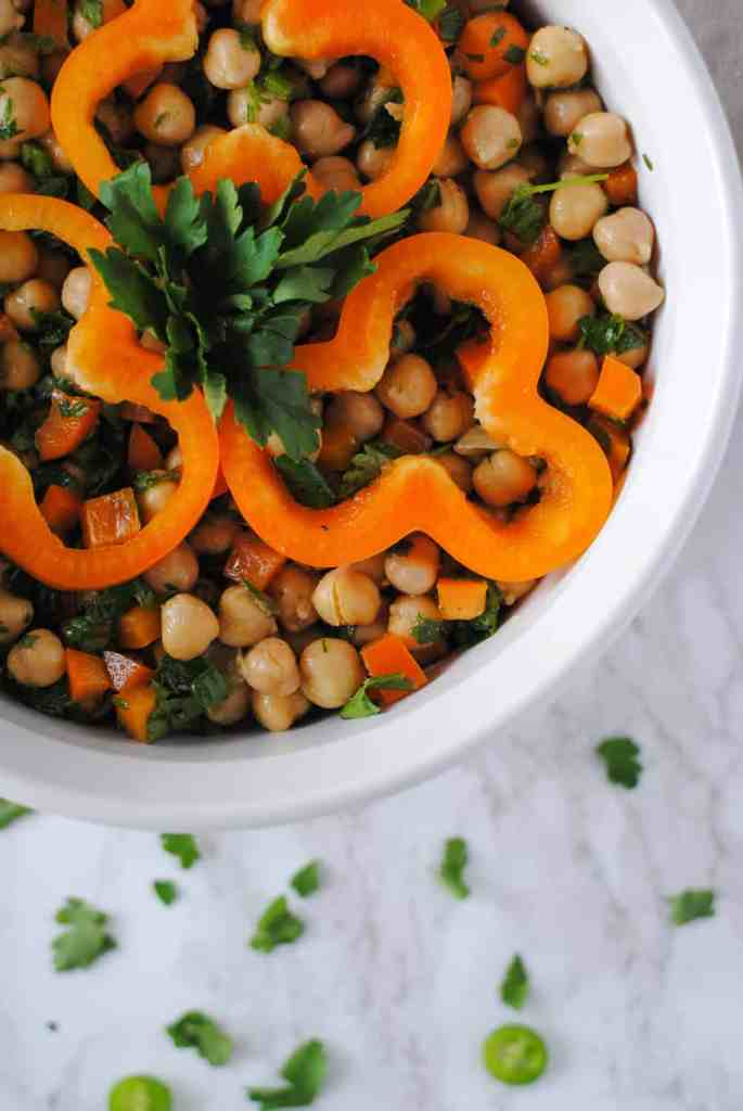 spicy chickpea salad in serving bowl