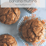 banana muffins on light background