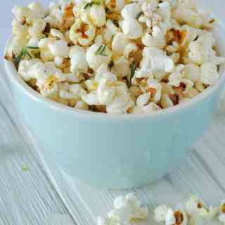 rosemary olive oil popcorn in bowl