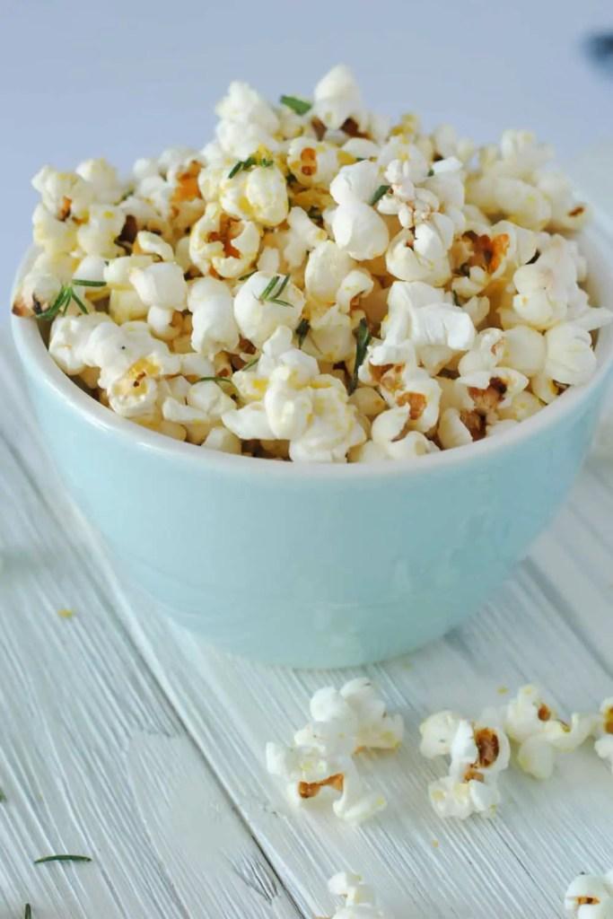 rosemary olive oil popcorn in bowl