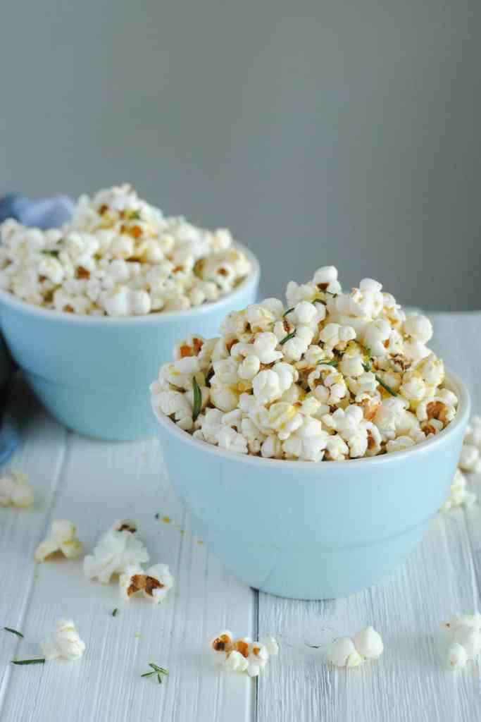 rosemary olive oil popcorn in two bowls