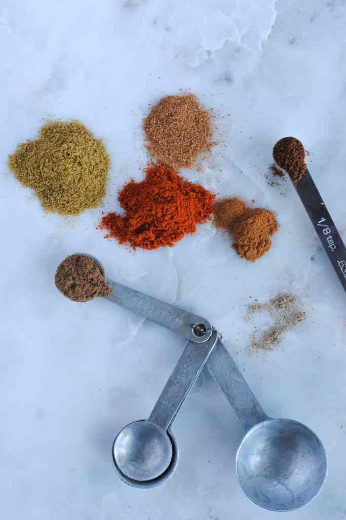 Lebanese spice mix on light background