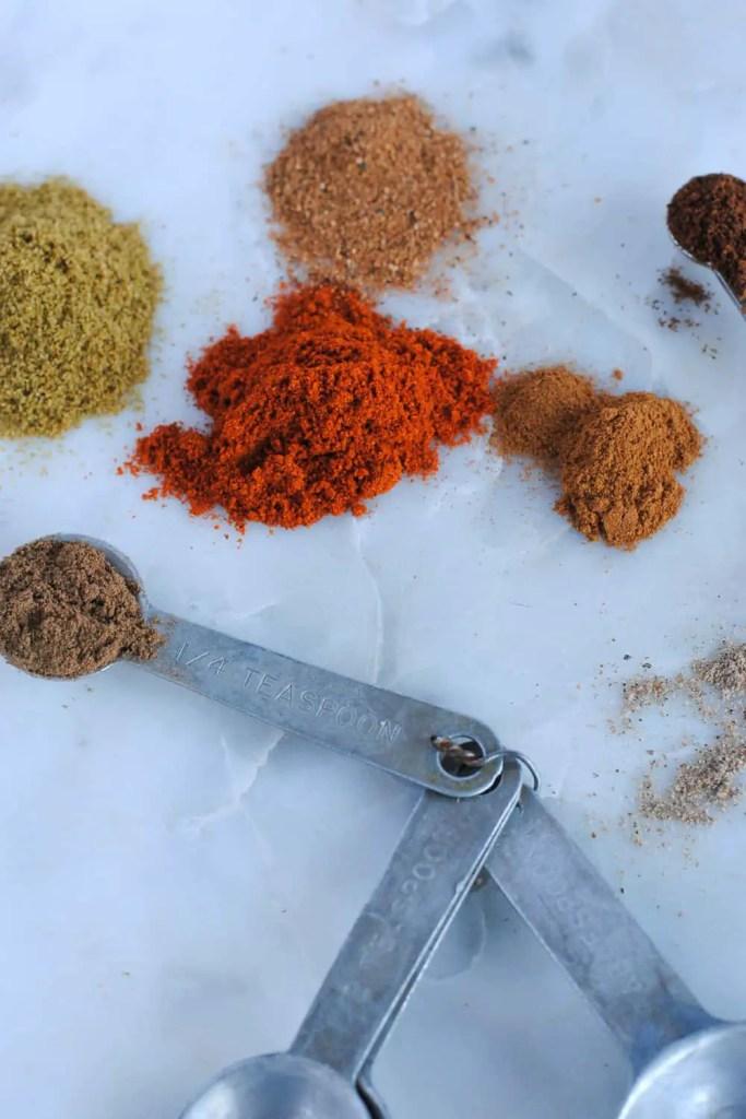 Lebanese spice mix on light background