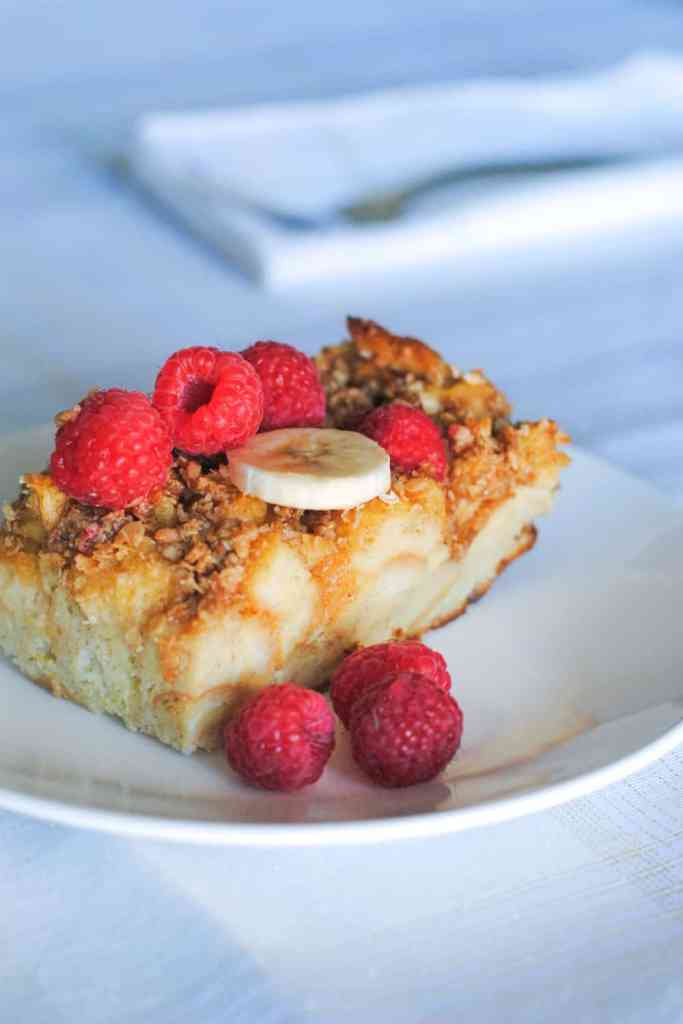 overnight french toast casserole topped with fruit