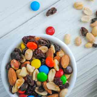 trail mix on white background