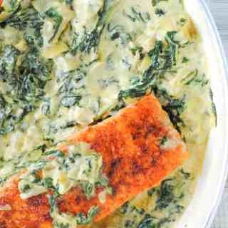 spinach in creamy spinach and artichoke sauce