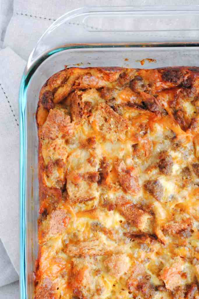 sausage egg and cheese breakfast casserole made the night before and baked in the morning