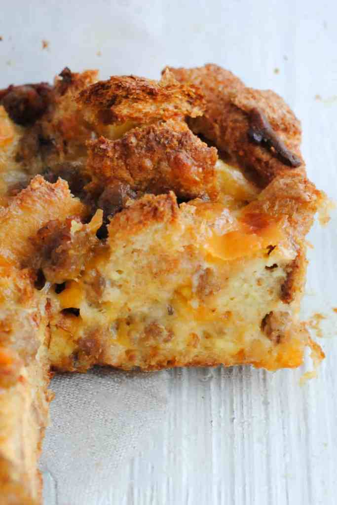 slice of sausage egg and cheese casserole