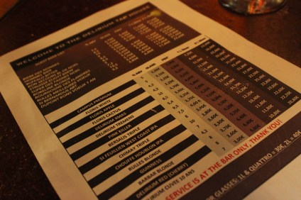 Delirium Bar menu