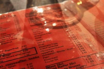 Celtica Pub menu