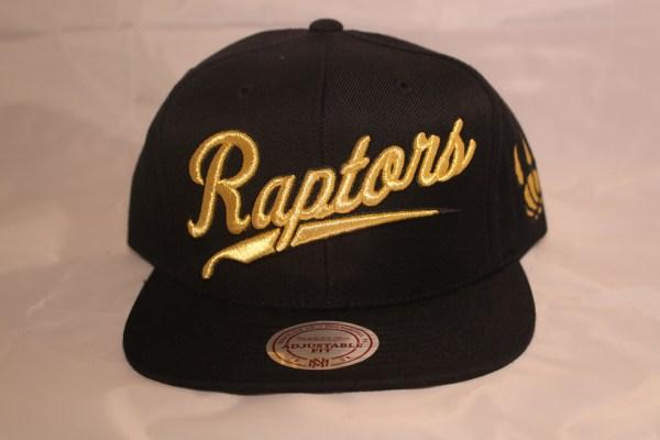 Mitchell and Ness NBA Snapback Toronto Raptors Gold Script OVO QS Black/Gold