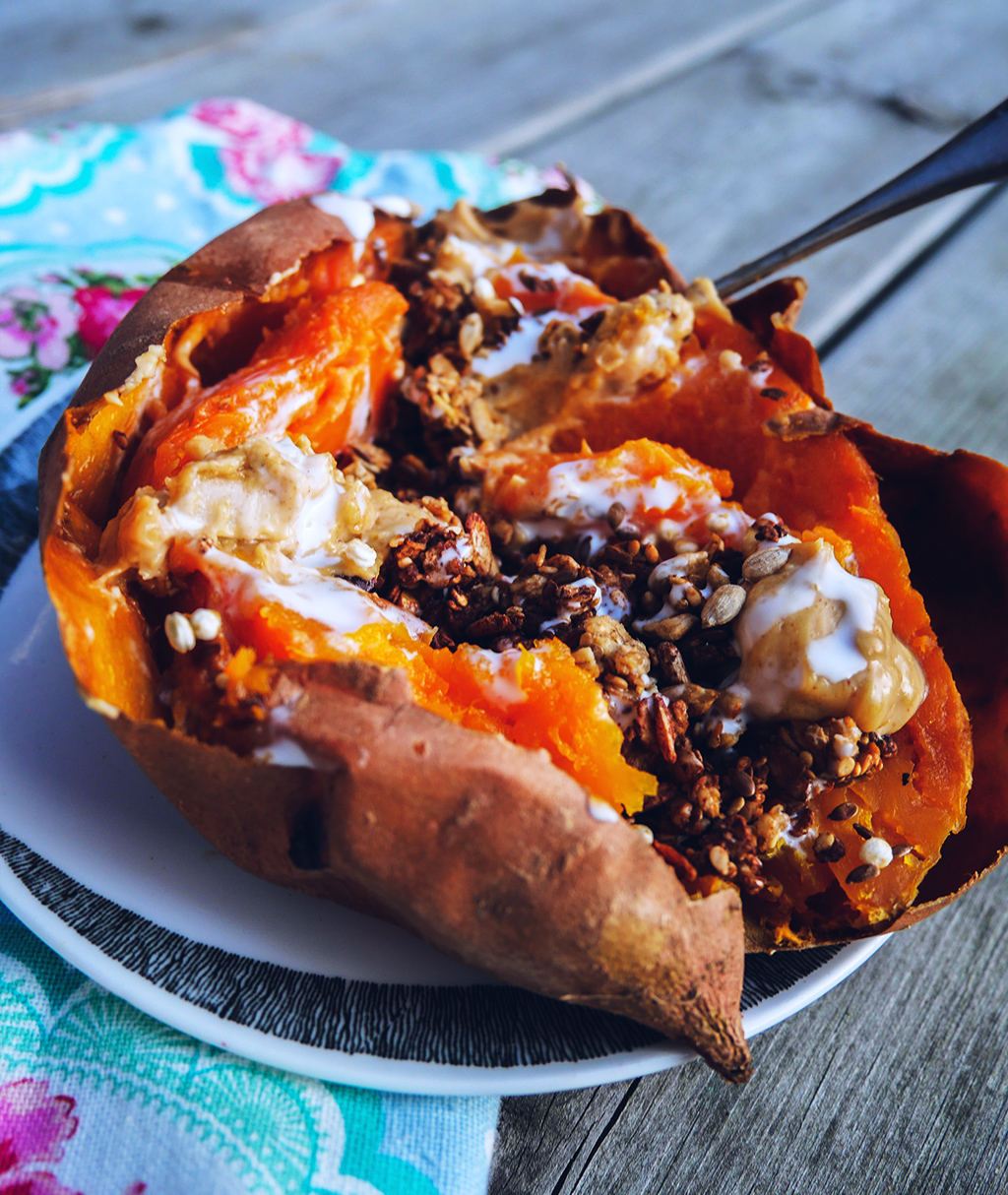 Baked Sweet Potato with Granola