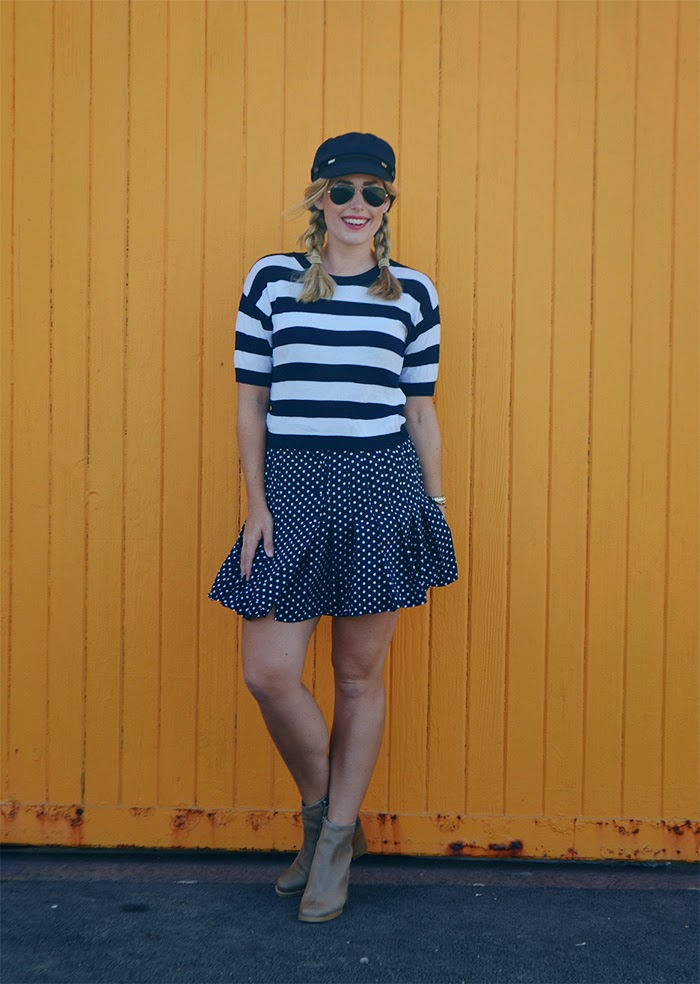 Witchery knit top and spotty skirt both from Salvos Osborne Park