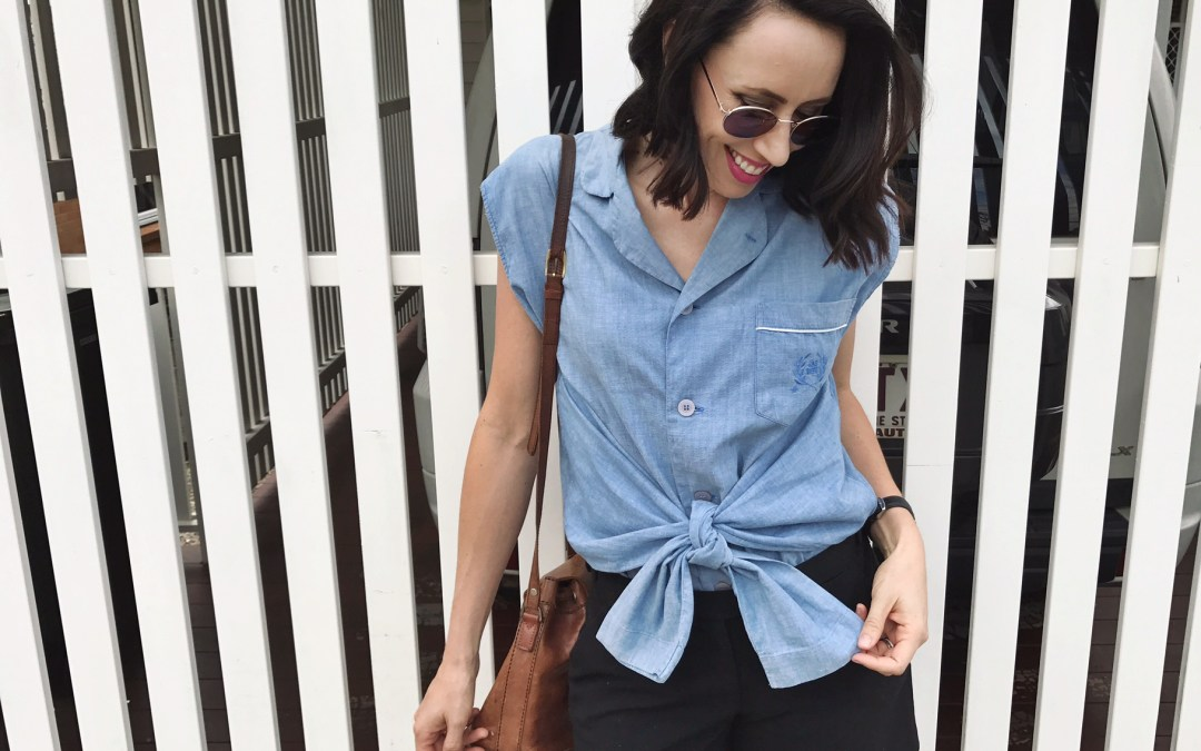 DIY $3.50 CHAMBRAY TIE UP TOP