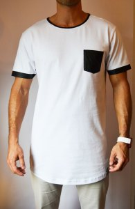 TB0827 camiseta long blanca con bolsillo polipiel delantera