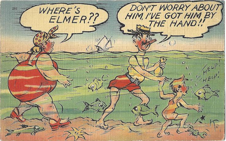 Comic postcard family at the beach