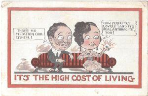 Comic postcard, coal engagement ring