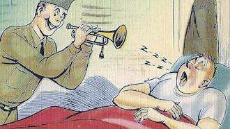 Cartoon WWII Army Bugle postcard