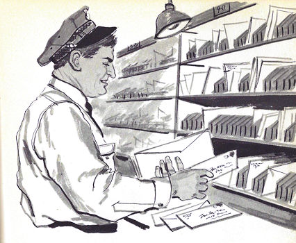 Mailman sorting letters and daydreaming about his postal pension.