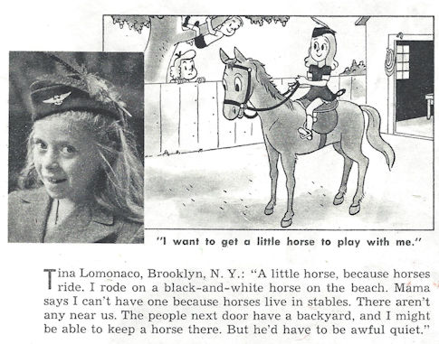 Little girl wants a horse (Postwar magazine feature)