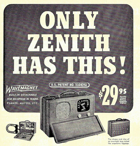 1940's zenith portable radio with wavemagnet $29.95