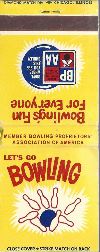 LET'S GO BOWLING matchbook