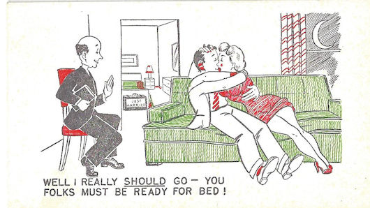 A couple trying to have the wedding night loving but their guest will not leave. midcentury Risque cards