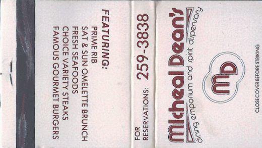 Micheal Dean's restaurant matchbook