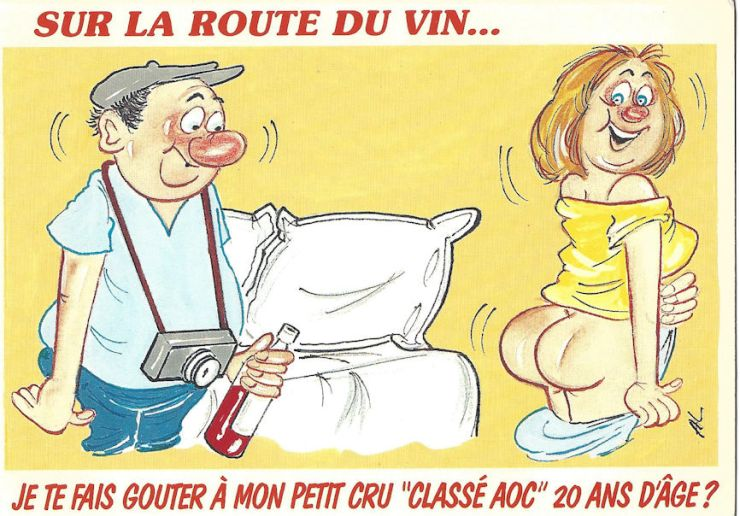 French postcard, cheerful cartoon nudity.
