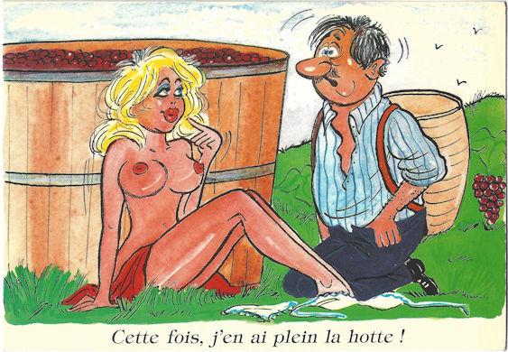 Sexy french nude cartoon postcard - vineyard tragedy