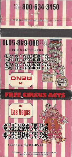Pink and White gaudy matchbook from Circus Circus