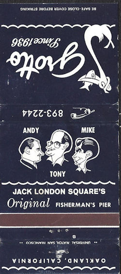 Matchbook from Jack London Square Grotto Fisherman's Pier