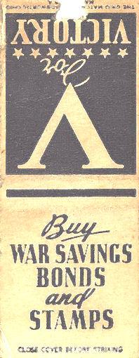 WWII War Savings Bonds matchbook