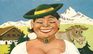 Austrian Milkmaid postcard with finger holes