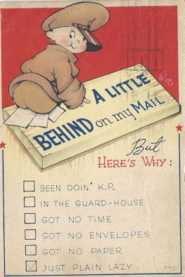 """Cartoon baby butt WWII postcard """"A little behind on my mail"""""""