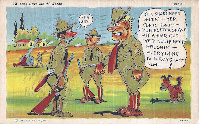 Army comic postcard WWII