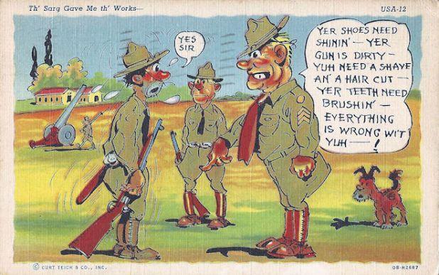 Army comic postcard WWII