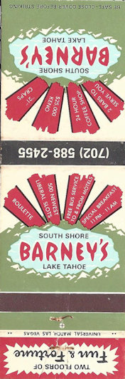 Barney's Lake Tahoe casino matchbook