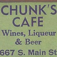 Matchbook from Chunks Cafe on Main Street