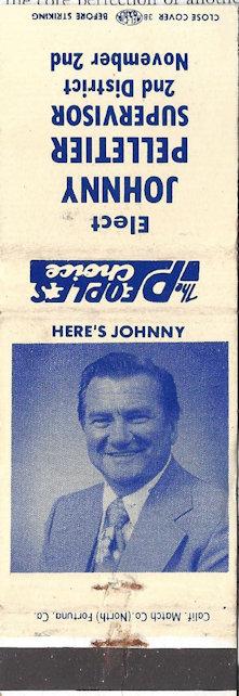 Johnny Pelletier for supervisor, promotional matchbook